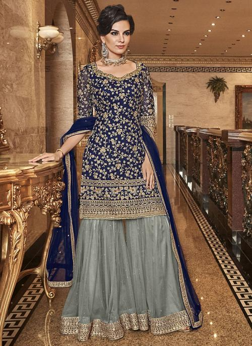 Wedding Wear Embroidery Work Navy Blue Net Sharara Suit