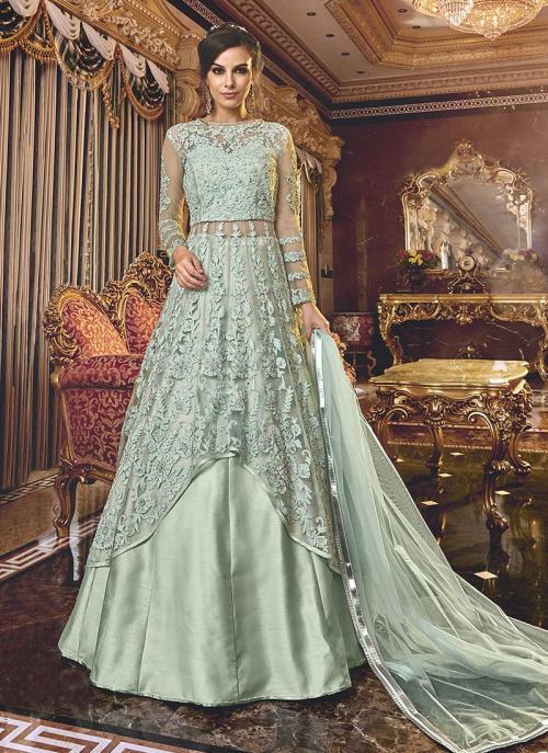 Wedding Wear Embroidery Work Sky Blue Net Anarkali Suit
