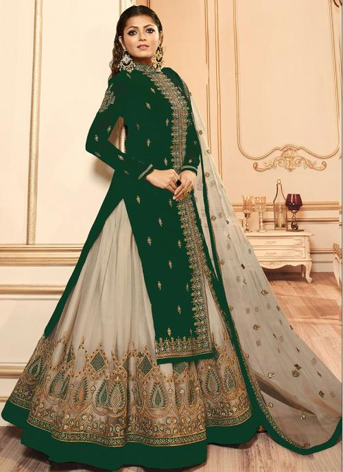 Traditional Wear Embroidery Work Green Faux Georgette Lehenga Suit