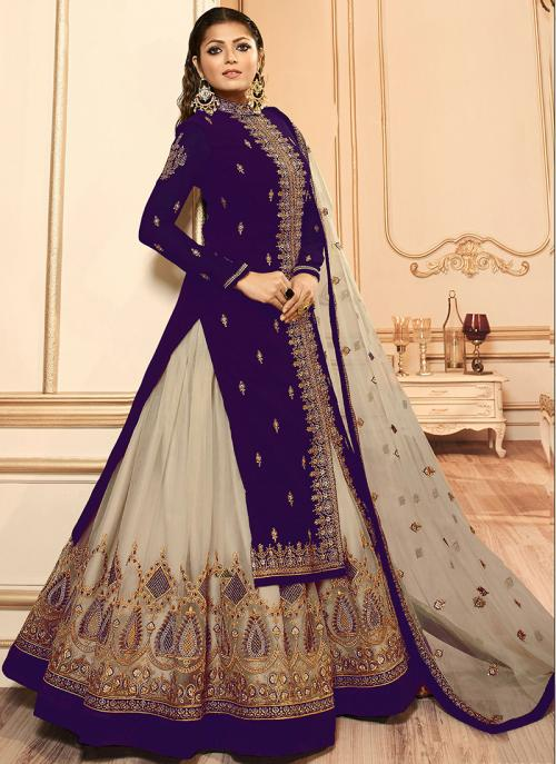Traditional Wear Embroidery Work Purple Faux Georgette Lehenga Suit