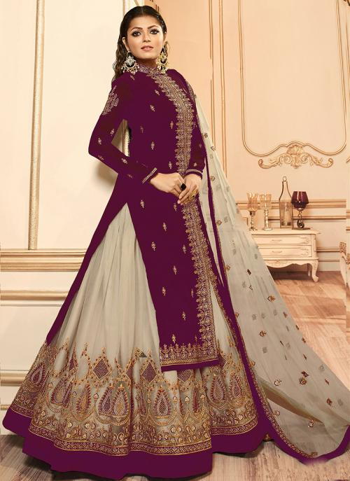 Traditional Wear Embroidery Work Violet Faux Georgette Lehenga Suit