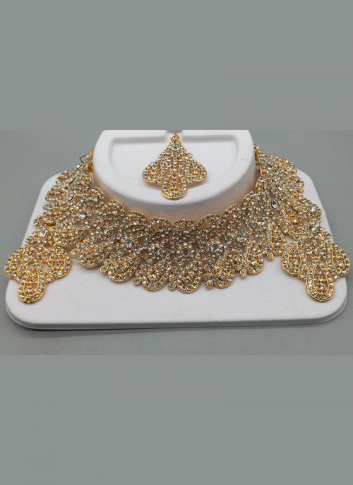 Gold Palted Silver Diamond Wedding Necklace Set