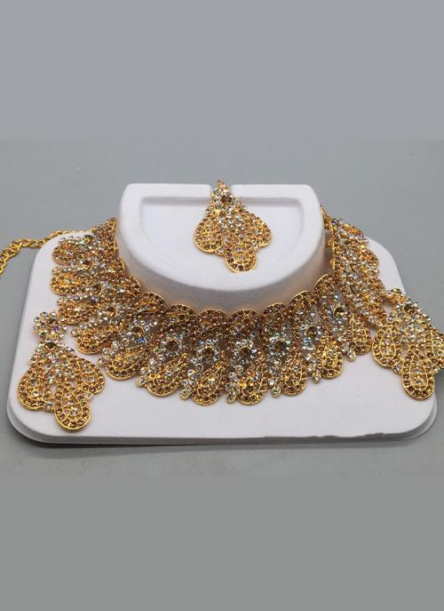 Gold Palted White Diamond Wedding Necklace For Women