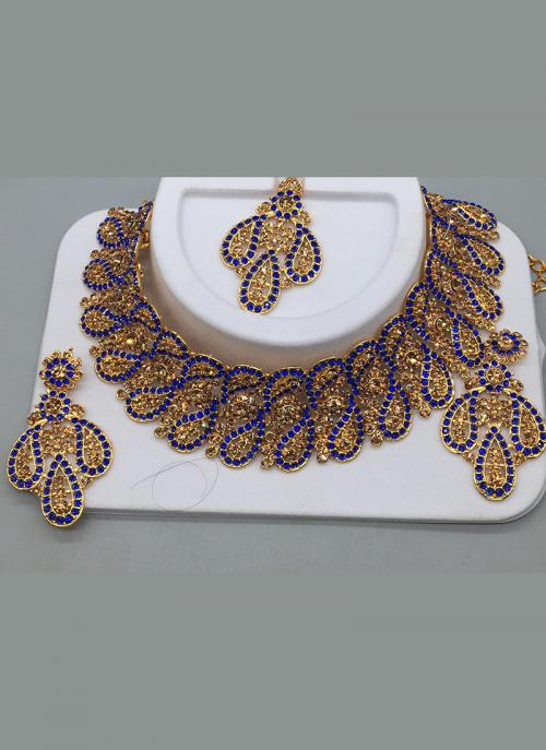 Traditional Party Wear Designer Blue Diamond Necklace