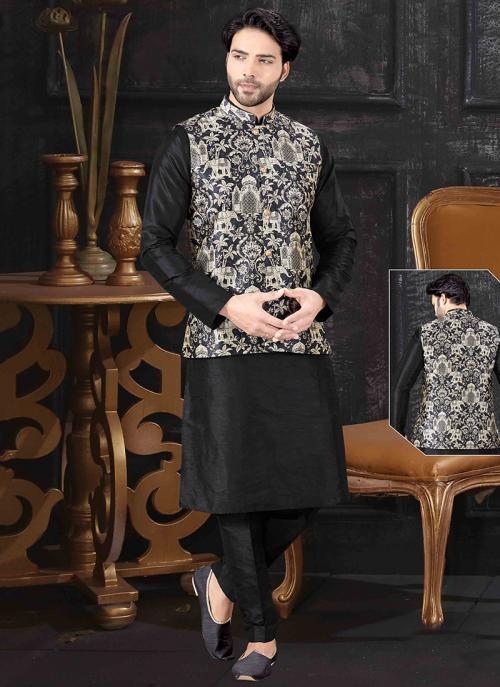 Festival Wear Black Silk Printed Work Kurta Pajama With Jacket