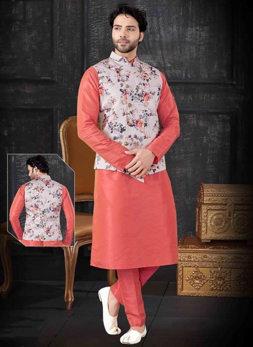 Festival Wear Printed Work Pink Silk Kurta Pajama With Jacket