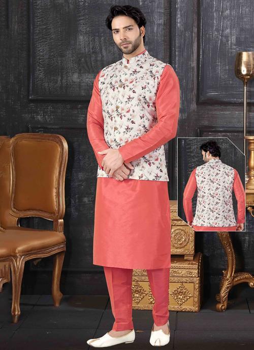 Festival Wear Pink Silk Printed Work Kurta Pajama With Jacket