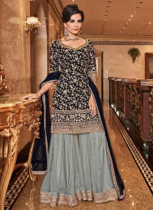Bridal Wear Black Net Heavy Embroidery Work Sharara Suit