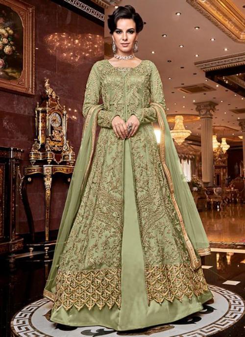 Bridal Wear Light Green Net Heavy Embroidery Work Abaya Suit