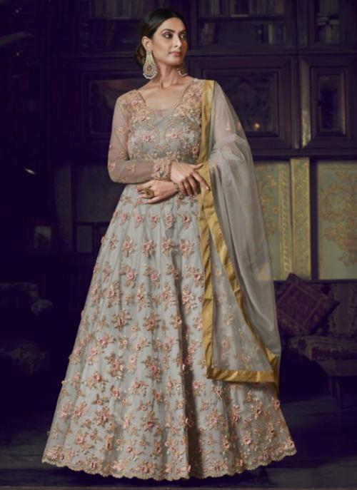 Wedding Wear Grey Net Heavy Embroidery Work Anarkali Suit