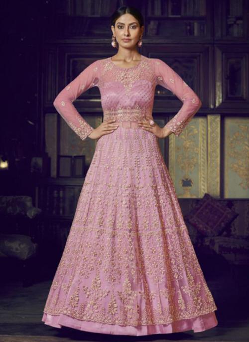 Wedding Wear Pink Net Diamond Work Anarkali Suit