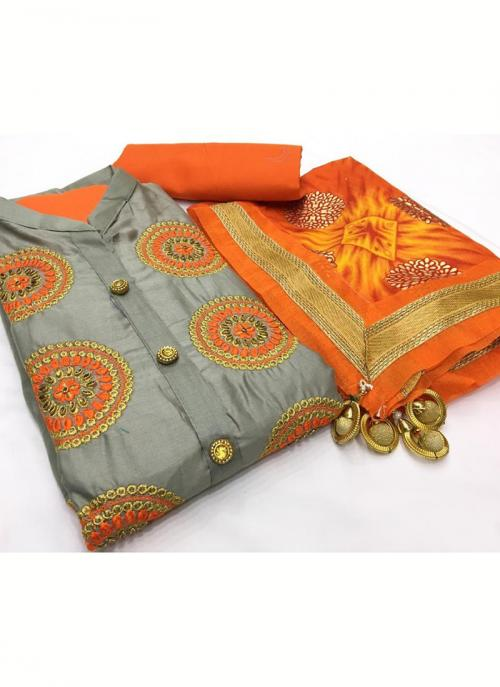 Daily Wear Grey Embroidery Work Glace Cotton Salwar Suit