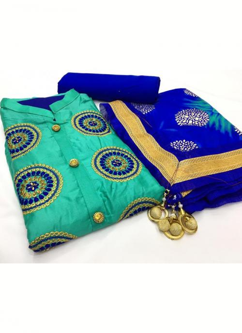 Daily Wear Teal Embroidery Work Glace Cotton Salwar Suit