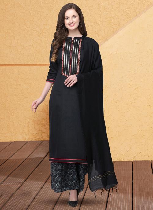 Casual Wear Black Gota Patti Work Jam Cotton Silk Palazzo Suit