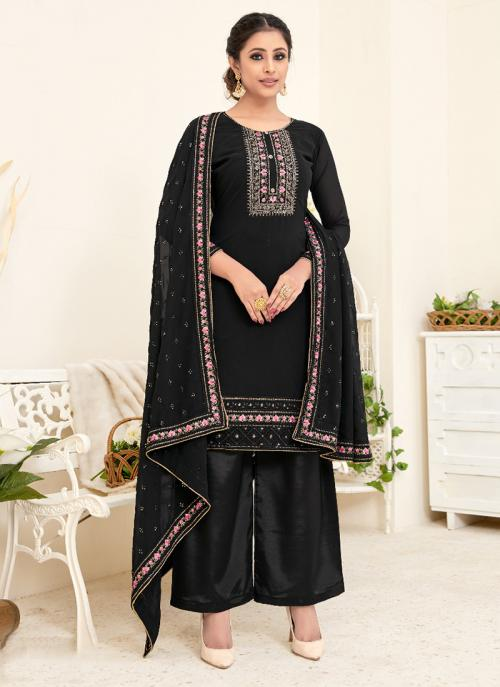 Festival Wear Black Embroidery Georgette Palazzo Suit