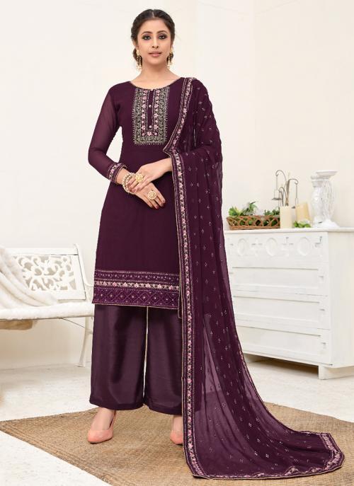 Festival Wear Purple Embroidery Georgette Palazzo Suit