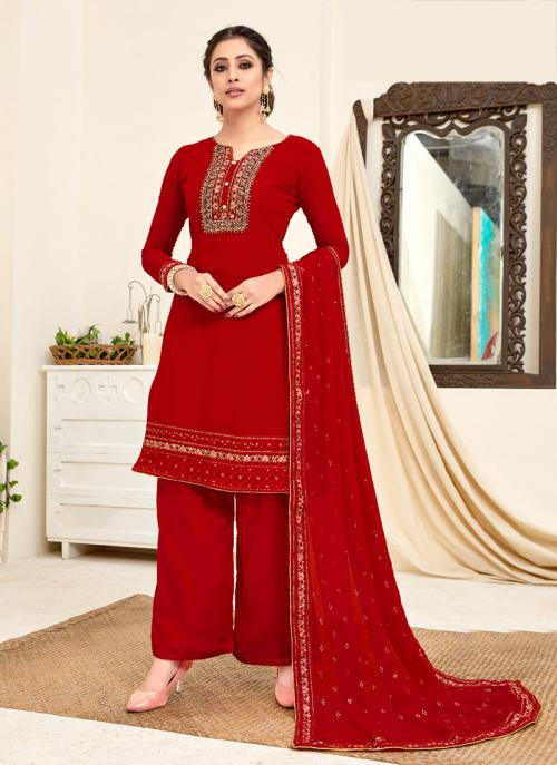 Festival Wear Red Embroidery Work Georgette Palazzo Suit