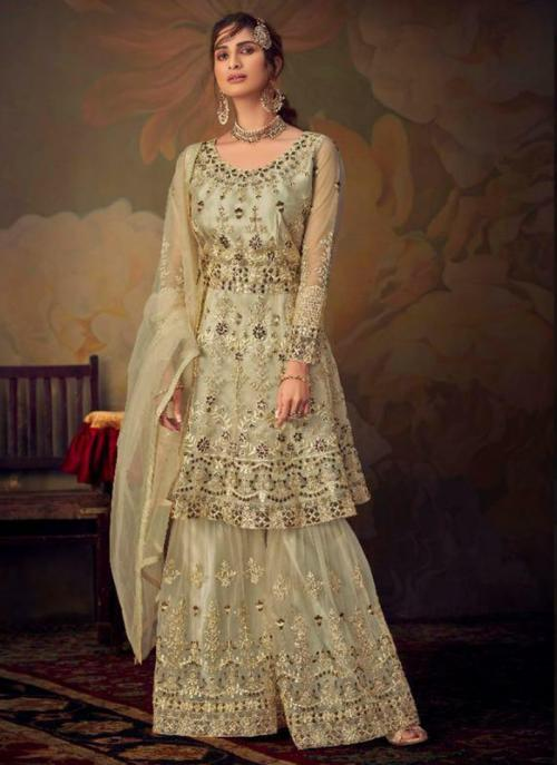 Bridal Wear Cream Embroidery Work Net Sharara Suit