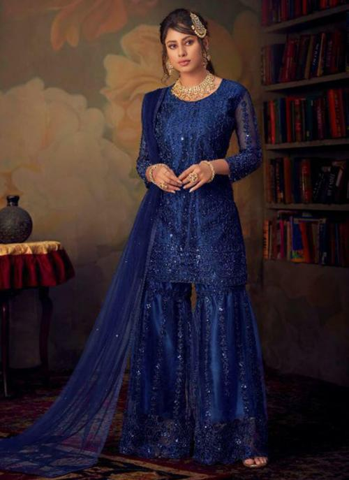 Bridal Wear Navy Blue Embroidery Work Net Sharara Suit