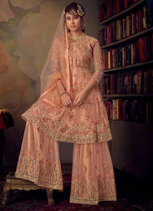 Bridal Wear Peach Heavy Embroidery Work Net Sharara Suit