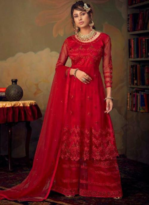 Bridal Wear Red Heavy Embroidery Work Net Sharara Suit