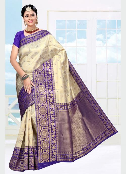Wedding Wear Blue Weaving Soft Silk Saree