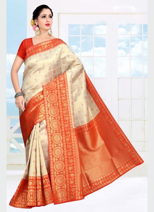 Wedding Wear Orange Weaving Soft Silk Saree