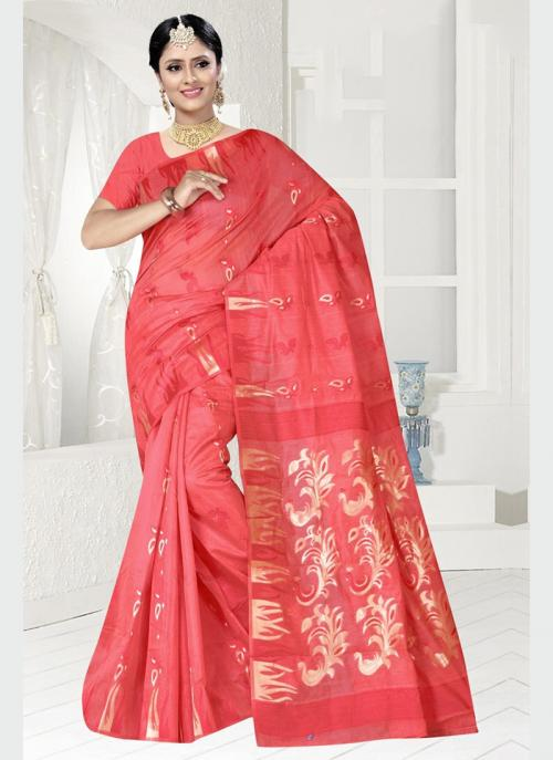 Party Wear Pink Zari Work Chanderi Saree