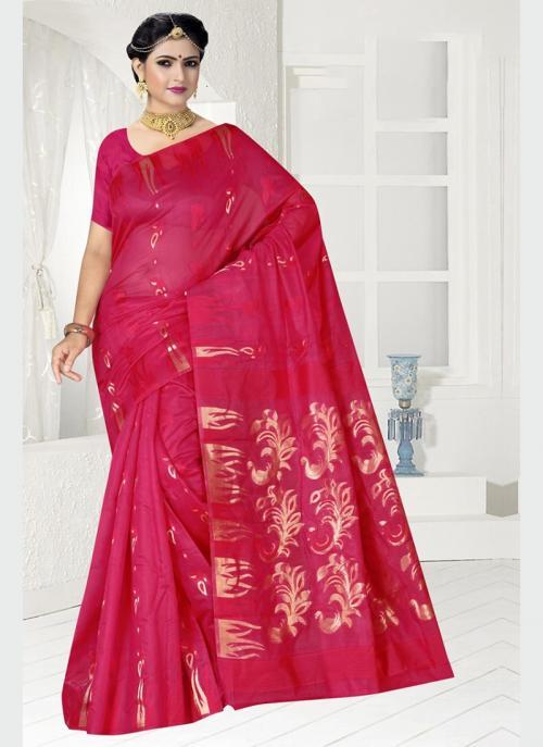 Party Wear Rani Zari Work Chanderi Saree