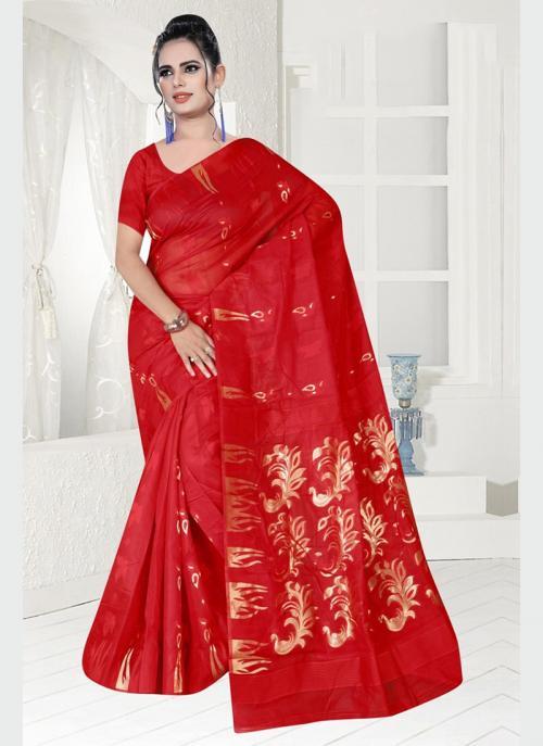 Party Wear Red Zari Work Chanderi Saree