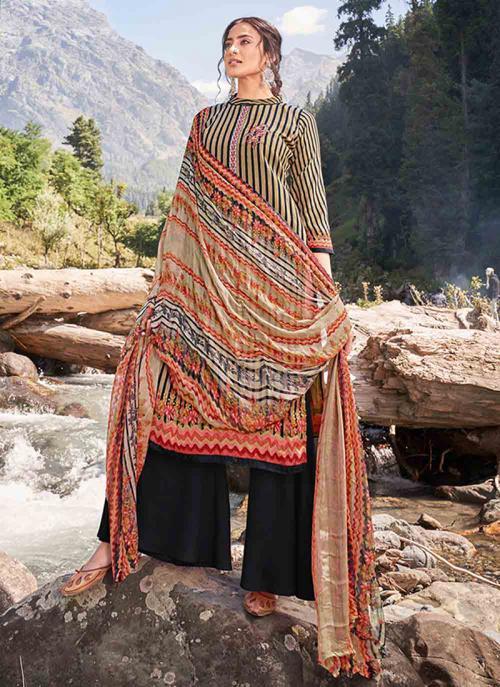 Casual Wear Black Digital Print Pashmina Silk Palazzo Suit