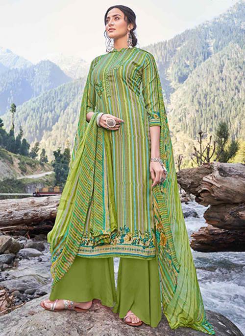 Casual Wear Light Green Digital Printed Pashmina Silk Palazzo Suit