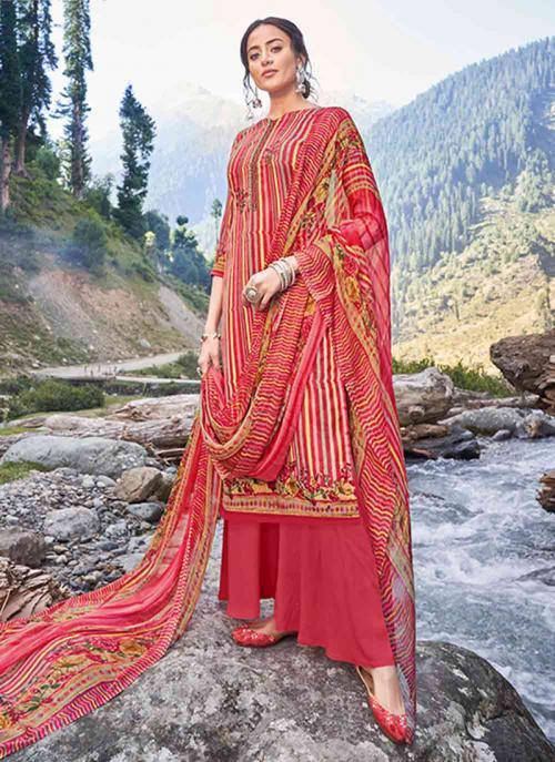 Casual Wear Red Digital Print Pashmina Silk Palazzo Suit