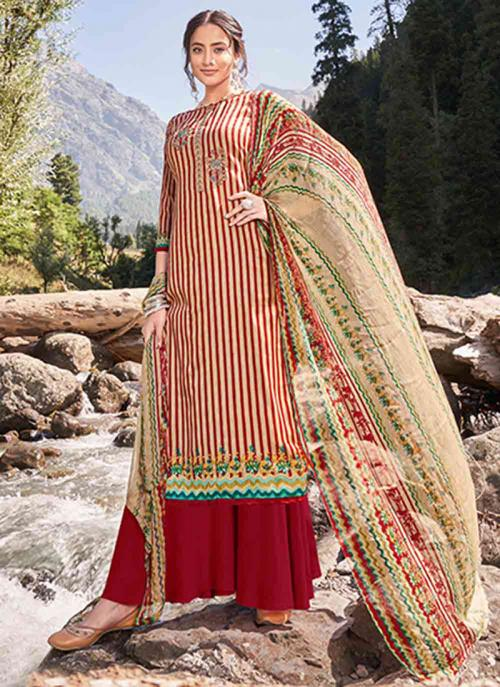 Casual Wear Red Digital Printed Pashmina Silk Palazzo Suit