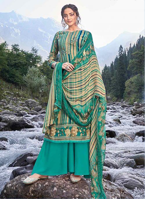 Casual Wear Teal Digital Print Pashmina Silk Palazzo Suit
