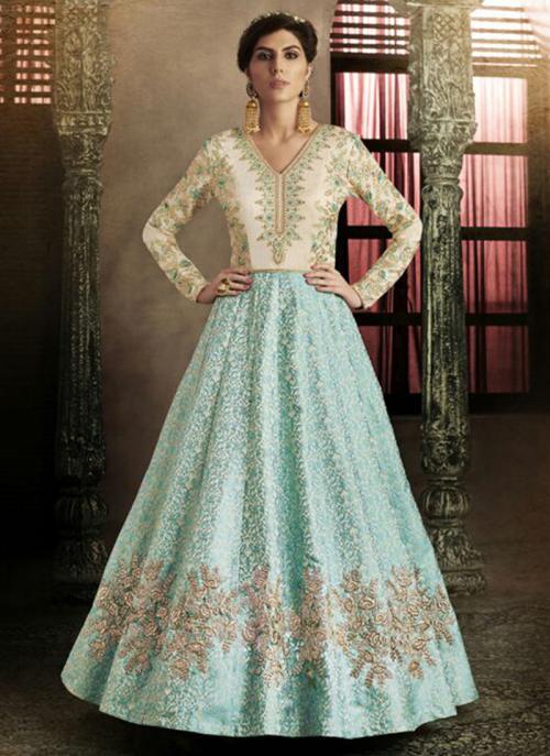 Reception Wear Firozi Heavy Embroidery Work Brocade Silk Anarkali Suit