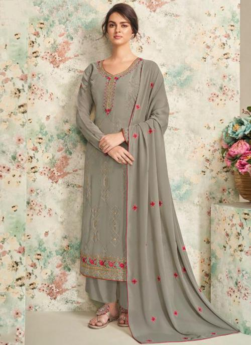 Party Wear Grey Embroidery Work Real Georgette Palazzo Suit