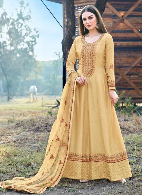 Festival Wear Beige Embroidery Work Dola Silk Anarkali Suit