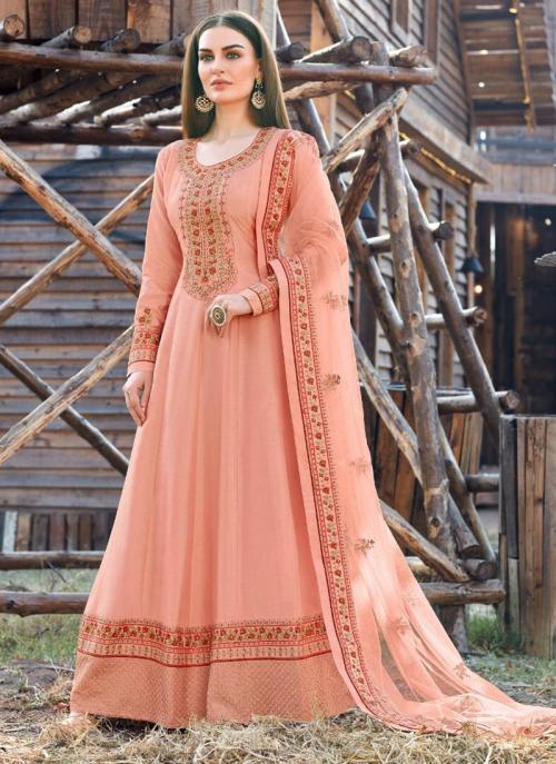 Festival Wear Light Peach Embroidery Work Dola Silk Anarkali Suit