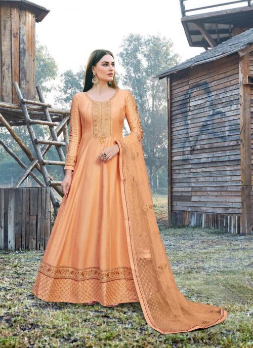 Festival Wear Peach Embroidery Work Dola Silk Anarkali Suit