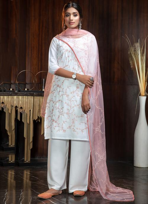 Party Wear White Diamond Work Georgette Palazzo Suit