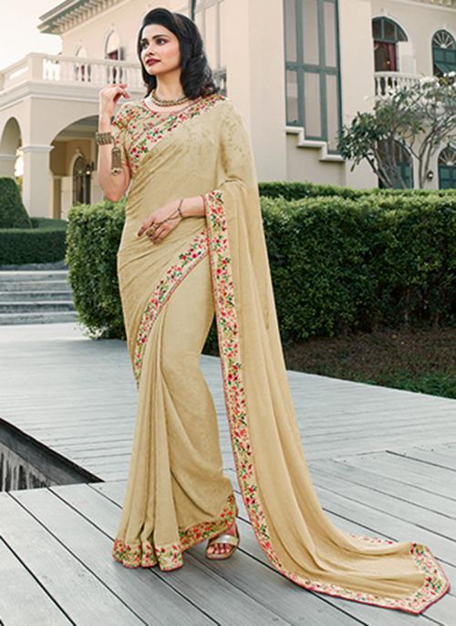 Casual Wear Beige Lace Work Fancy Saree