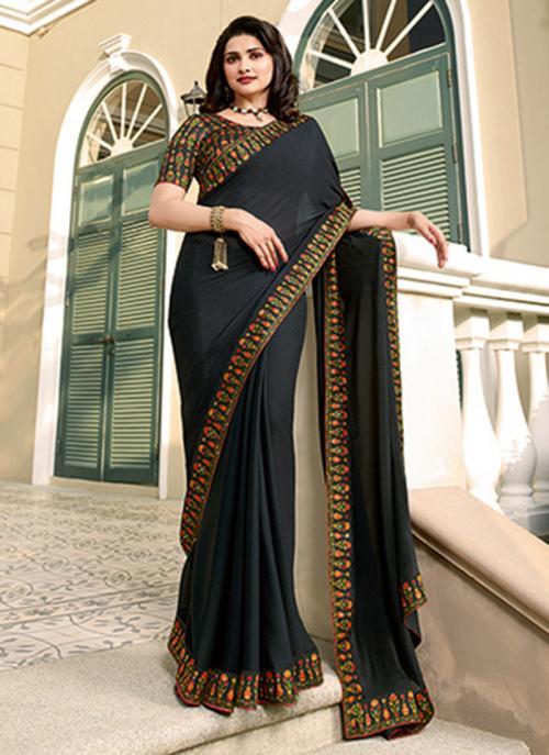 Casual Wear Black Lace Work Fancy Saree