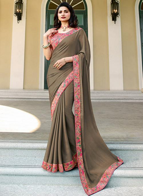 Casual Wear Brown Lace Work Fancy Saree