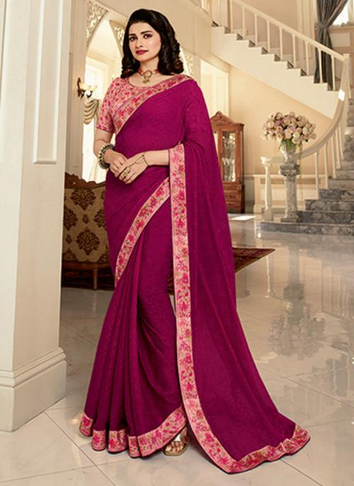 Casual Wear Rani Lace Work Fancy Saree