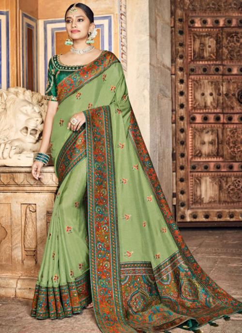 Party Wear Olive Green Kashmiri Work Dola Silk Saree