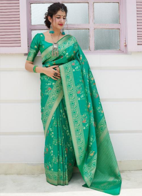 Wedding Wear Green Weaving Silk Heavy Saree