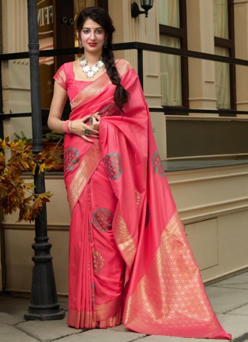 Wedding Wear Pink Weaving Silk Heavy Saree