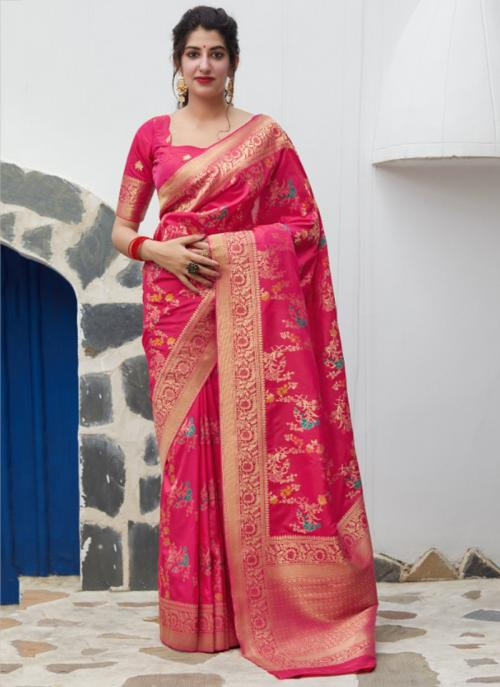 Wedding Wear Rani Weaving Silk Heavy Saree
