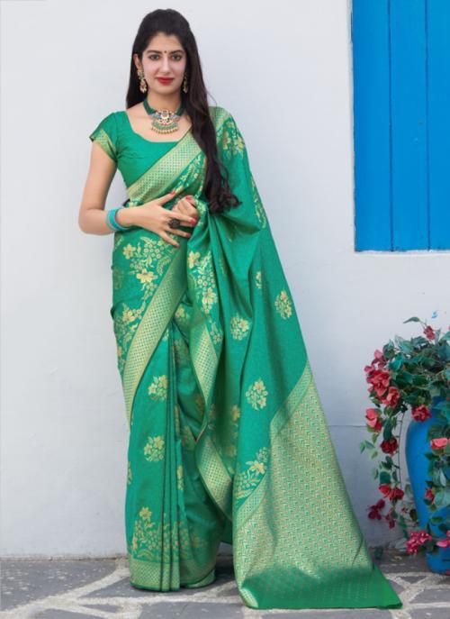 Wedding Wear Teal Weaving Silk Heavy Saree